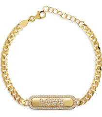 gabi rielle women's love & protection 14k gold vermeil & crystal bracelet