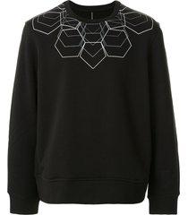 blackbarrett geometric print cotton sweatshirt