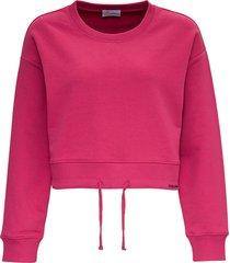 red valentino cotton crop sweatshirt with drawstring