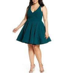 plus size women's mac duggal fit & flare party dress, size 16w - green
