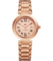 alexander watch a203b-05, ladies quartz date watch with rose gold tone stainless steel case on rose gold tone stainless steel bracelet