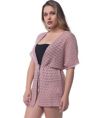 saída de praia tricô rendado kimono crochê rosa 0265 - tricae