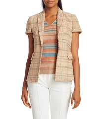 akris punto women's summer tweed jacket - nude multicolor - size 2