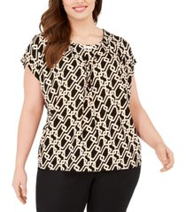 adrienne vittadini plus size cap-sleeve top