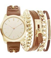 jessica carlyle women's brown polyurethane strap watch 36mm, gift set
