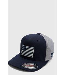 gorra azul-gris-blanco alpinestars flag hat