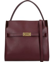 tory burch lee radzwill shoulder bag in bordeaux leather
