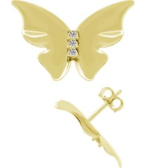 crystal butterfly stud earring in fine silver plate, gold plate or rose gold plate