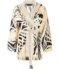 alanui fringed belted cardigan - neutrals