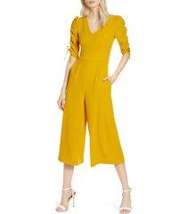 women's chelsea28 ruched sleeve crop wide leg jumpsuit