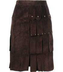 yves saint laurent pre-owned studded fringed skirt - brown