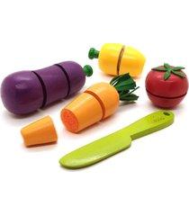 brinquedo kit legumes com corte + faca + caixa