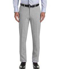 haggar men's j.m. premium light grey 4-way stretch slim fit dress pants - size: 38w x 30l