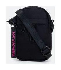 bolsa porta celular transversal lisa com chaveiro em etiqueta | satinato | preto | u