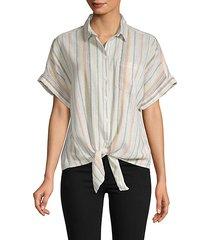 striped tie-waist shirt