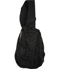 c.p. company black one shoulder backpack w/iconic lens