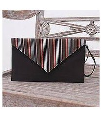 cotton wristlet, 'lurik amplop brown' (indonesia)
