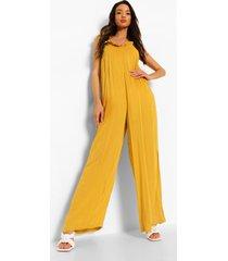 wide leg jumpsuit met laag uitgesneden rug, mustard