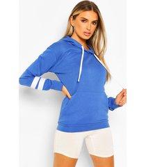oversized hoodie met gestreept mouw detail, kobalt