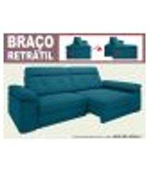 sofá glamour 2,30m assento com braço retrátil e reclinável velosuede royal - netsofas