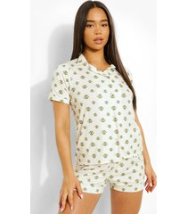 jersey bijen pyjama set met shorts en knopen, cream