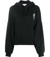 alexandre vauthier crystal-embellished hoodie - black