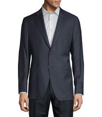 saks fifth avenue made in italy men's tonal windowpane plaid wool & silk-blend blazer - blue black - size 38 s