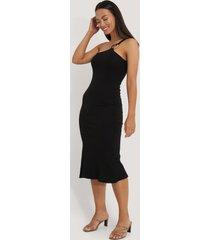 na-kd trend ribbed one shoulder dress - black