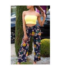 trendy casual zomer broek met bloemen-print marineblauw