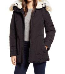 women's sam edelman short parka with faux fur trim, size x-large - black