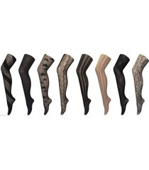 women's fancy patterned semi opaque tights, one size 8-14 uk, 36-42 eu, designer