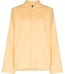 tekla button-up pajama shirt - yellow