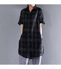 zanzea superior largo de la tela escocesa de botones de la camisa mujeres solapa de split blusa de manga corta casual -negro