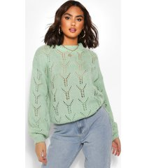 pointelle oversized sweater, green