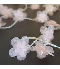 cordão de luz - luz de fada crie casa organza flower rosa