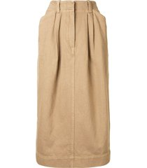 lemaire baggy straight skirt - brown