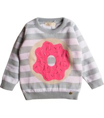 casaco suéter tricô mini lady donut - kanui