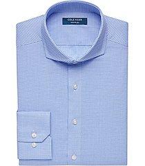 cole haan grand.øs blue check slim fit dress shirt