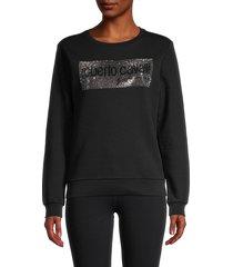 roberto cavalli sport women's embellished logo sweatshirt - black - size l