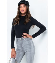 akira can't live without it long sleeve casual mock neck bodysuit