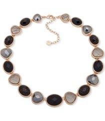"""anne klein gold-tone jet stone collar necklace, 16"""" + 3"""" extender"""