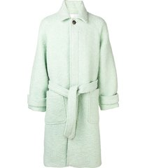 ami paris raglan sleeves belted long coat - green
