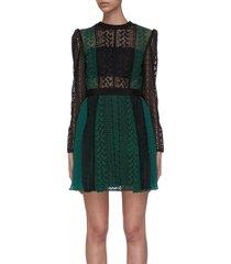 colourblock lace overlay panelled dress