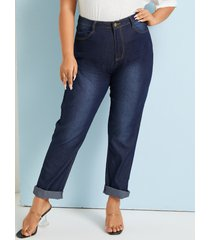 bolsillo de talla grande diseño botón diseño jeans