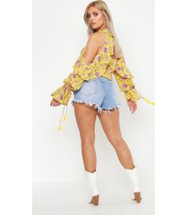 plus floral print cold shoulder tassel cuff top, yellow