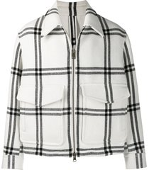 black and white wool blend jacket