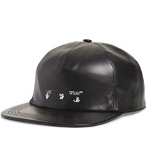 men's off-white logo leather baseball cap -