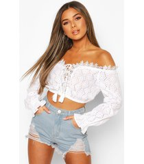 petite broderie off shoulder crop top