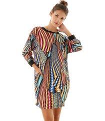 vestido aha estampa geometrica com punho azul