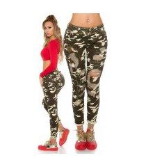 trendy camo jeans met pailletten gebruikte used look leger-kleurig